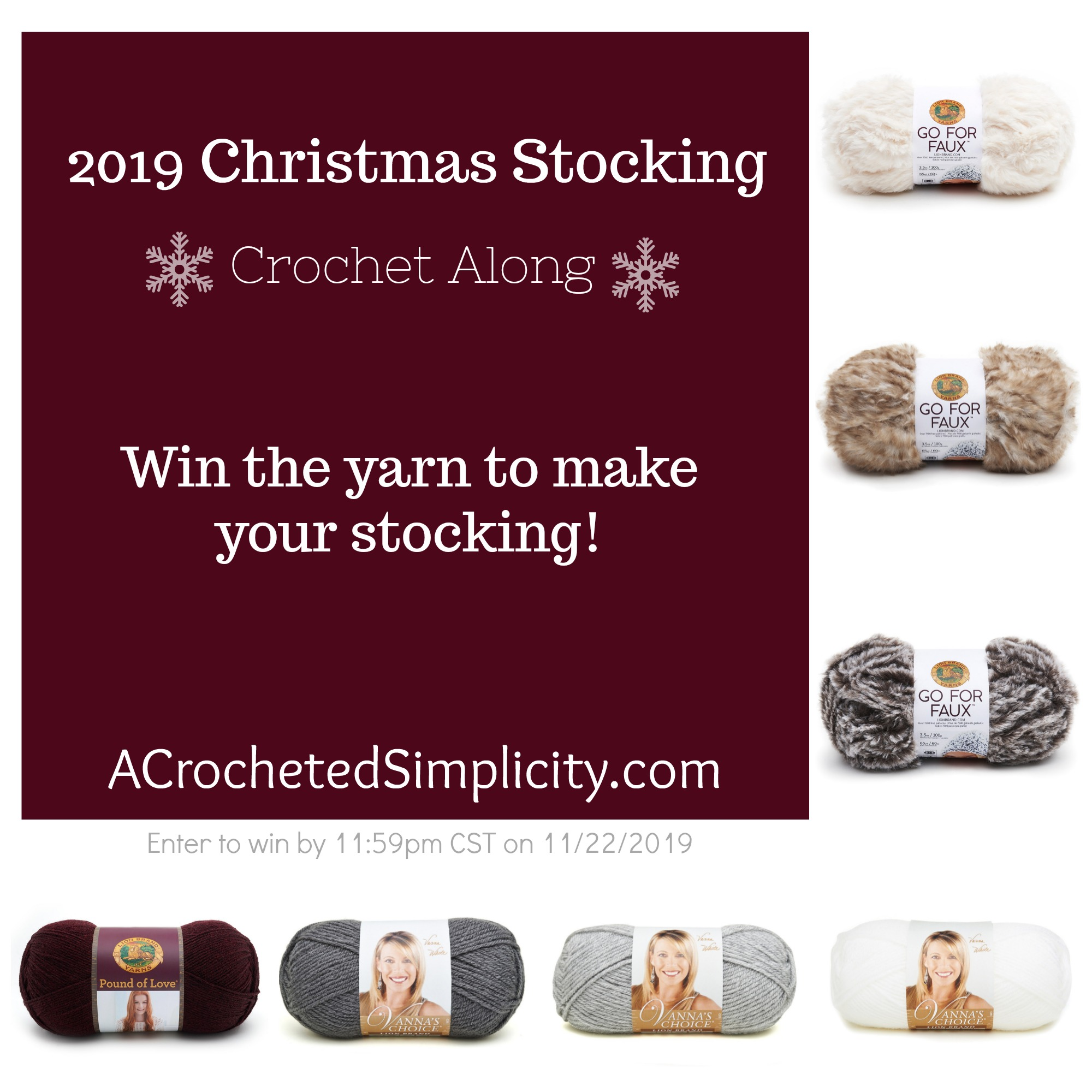 Join us for the 2019 Christmas Stocking Crochet Along! This is a free event for all with weekly prizes. We hope you'll join u