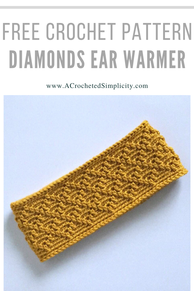 Diamonds Ear Warmer by Jennifer @ A Crocheted Simplicity