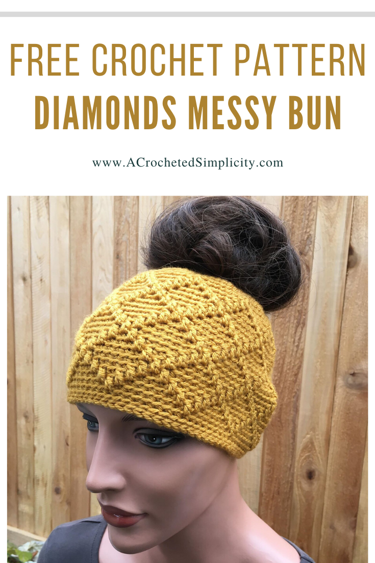 Free Crochet Pattern - Diamonds Messy Bun by A Crocheted Simplicity . #crochetmessybun #freecrochetpattern #crochetdiamonds #crochethat #crochetbunhat #crochetponytailhat #handmade