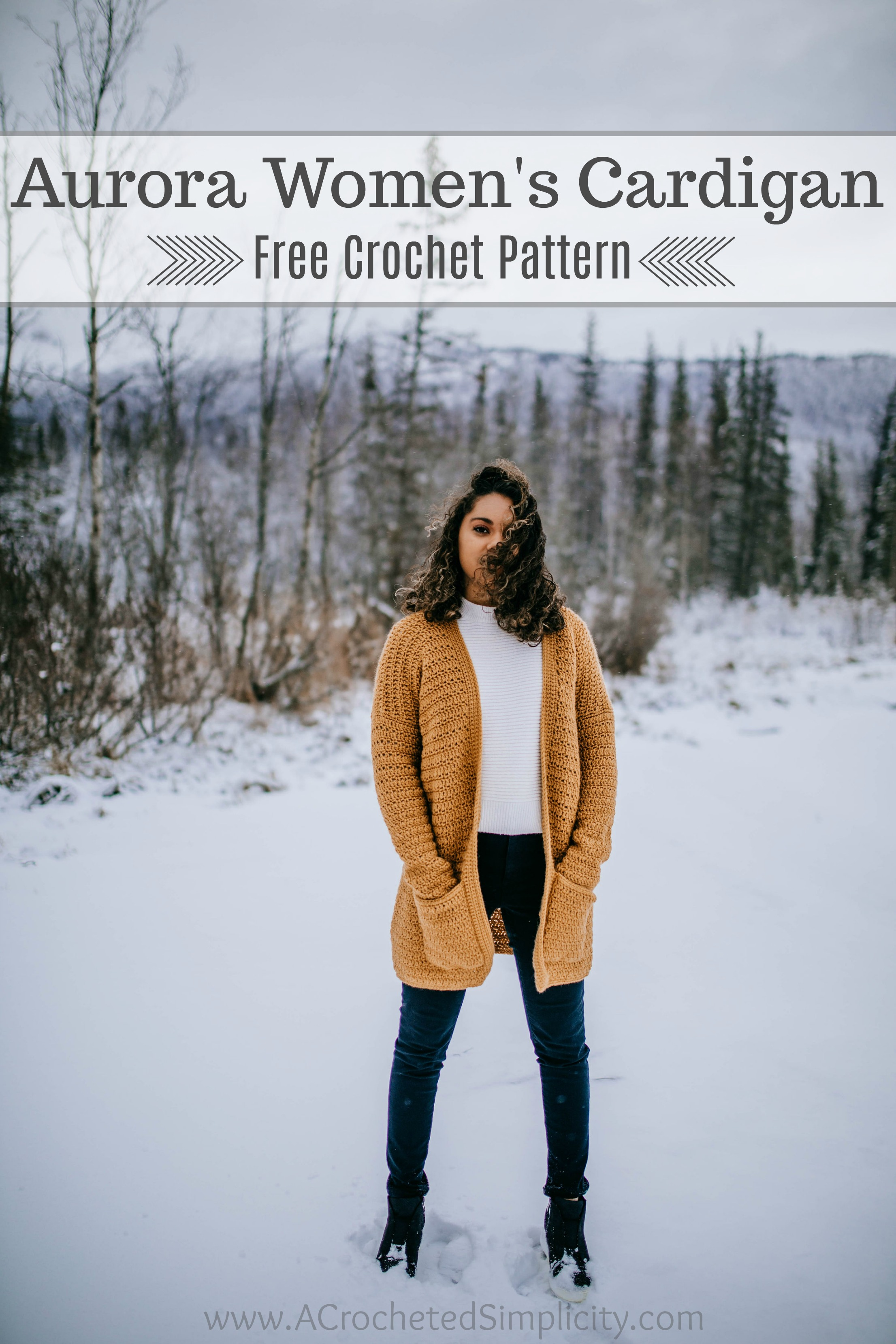 Free Crochet Cardigan Pattern - Aurora Cardigan for Women by A Crocheted Simplicity #crochetcardigan #freecrochetpattern #crochetcardiganpattern #cardiganpattern #crochetsweater