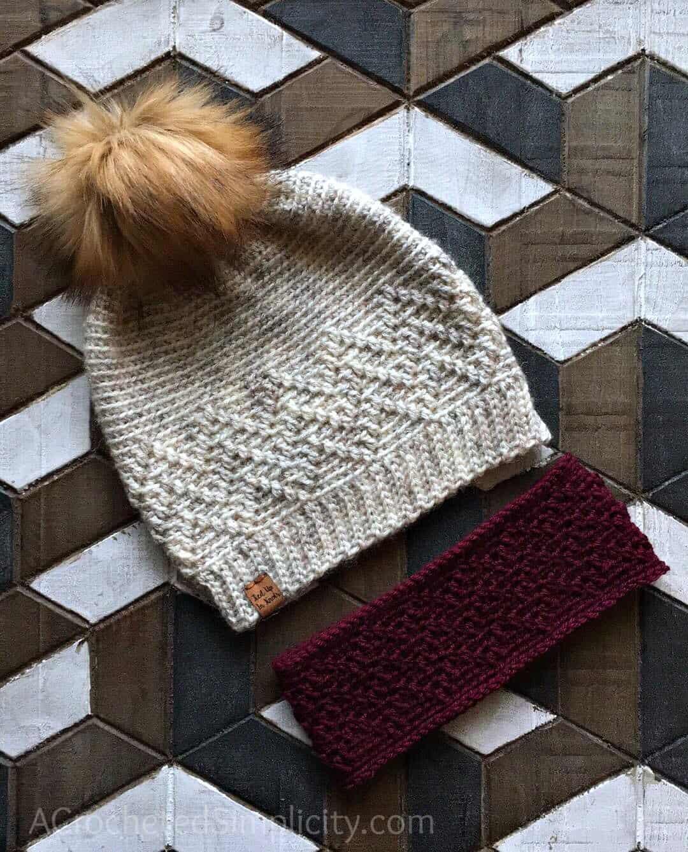 Free Crochet Patterns - Chevron Peaks Slouch & Ear Warmer by A Crocheted Simplicity #chevrons #crochetearwarmer #crochetslouch #crochethat #texturedcrochet #freecrochetpattern