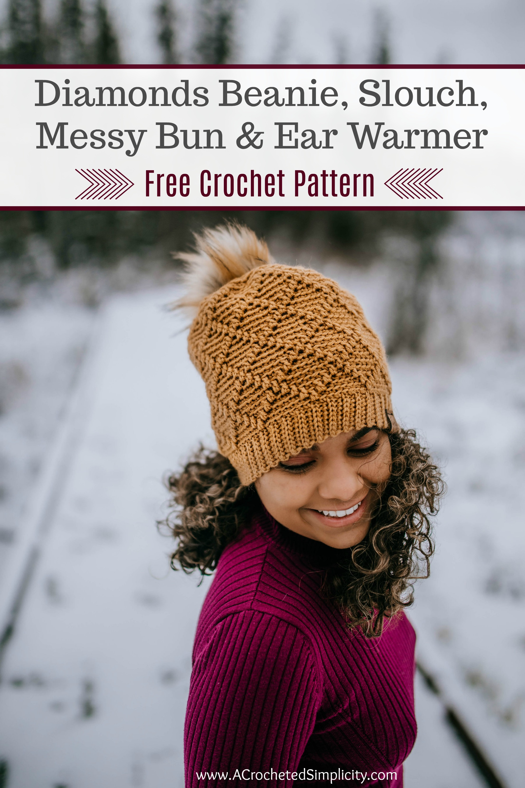 Free Crochet Hat Pattern - Diamonds Beanie, Slouch, Messy Bun & Ear Warmer by A Crocheted Simplicity #crochethat #crochetbeanie #freecrochetpattern #crochetmessybun #crochetearwarmer #handmade #crochetdiamonds