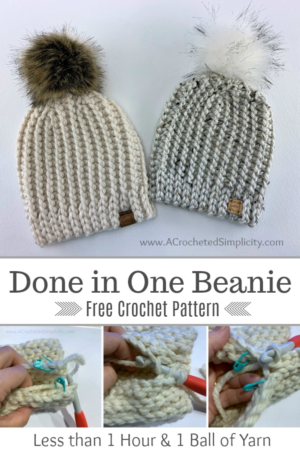 Free Crochet Hat Pattern - Done in One Beanie by A Crocheted Simplicity #freecrochetpattern #freecrochethatpattern #knitlookcrochet #crochetknitlook #crochetpattern #handmade #crochetbeanie #onehourhat #quickcrochetprojects