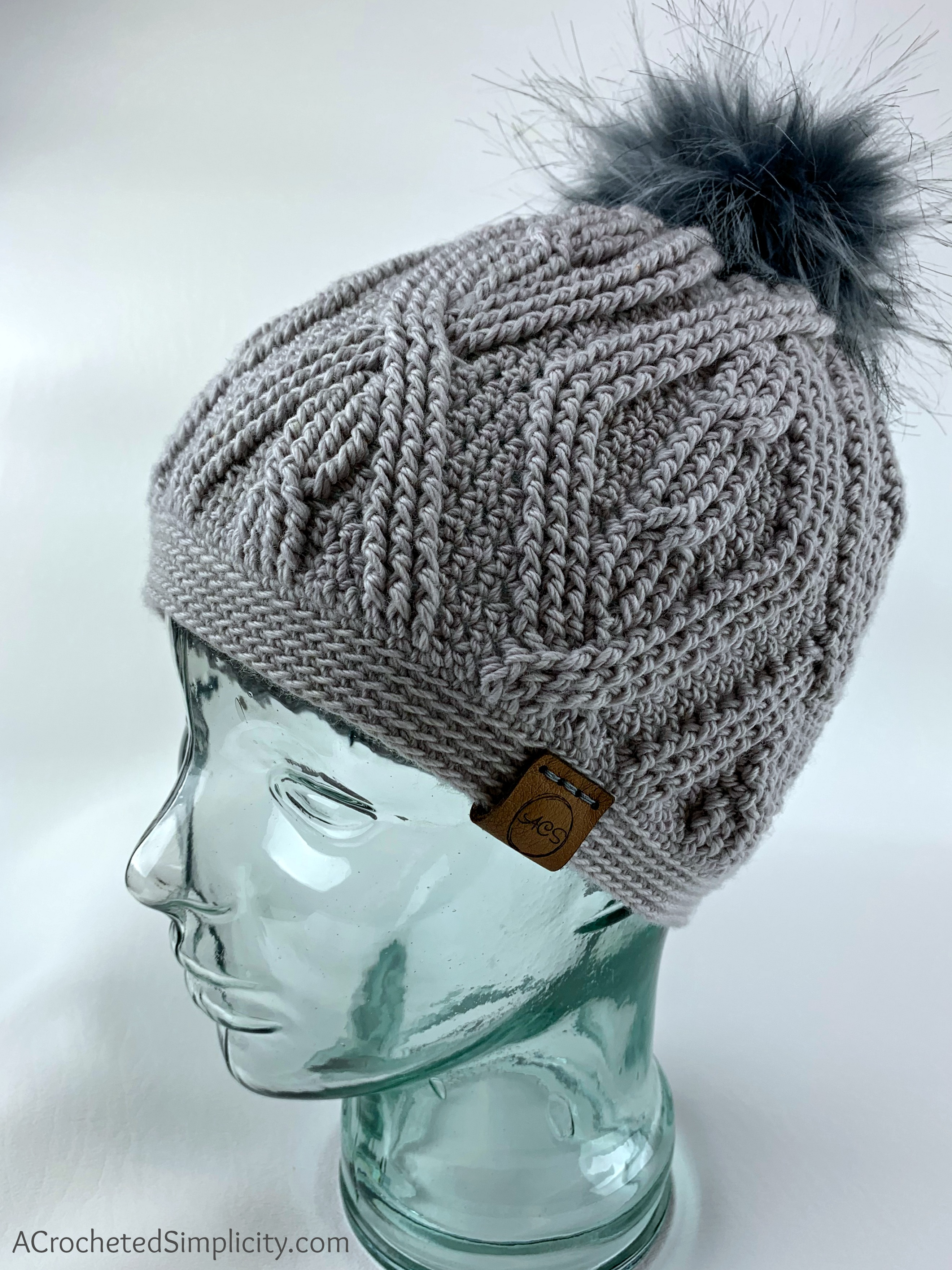 Free Crochet Pattern - Diamonds & Twists Cabled Beanie by A Crocheted Simplicity #freecrochetpattern #cabledbeanie #crochetcables #crochetcablepattern #crochetbeaniepattern #crochethatpattern #cabledhatpattern #crochet
