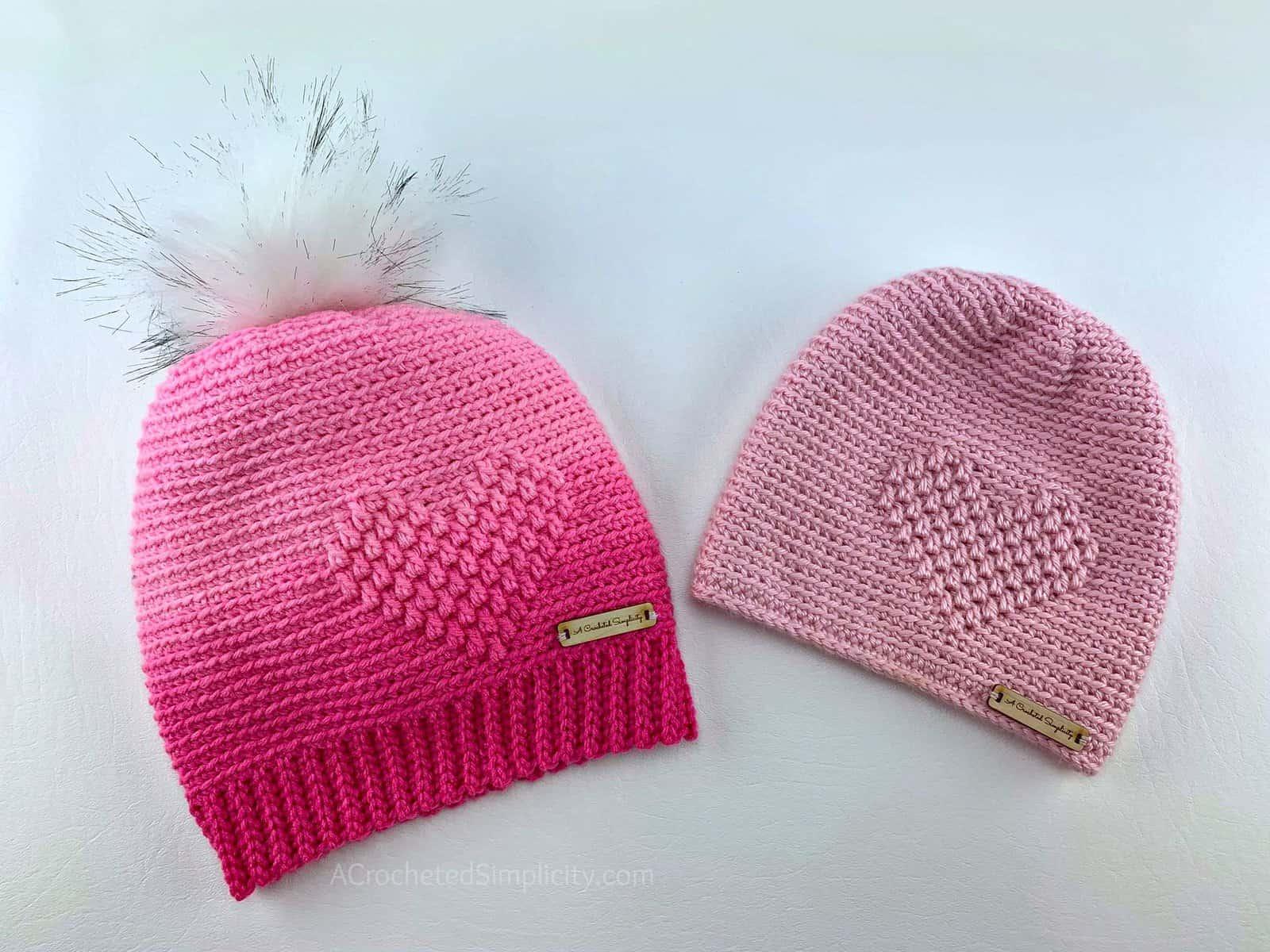 Free Crochet Hat Pattern - My Love Beanie & Slouch by A Crocheted Simplicity #freecrochetpattern #embossedcrochet #embossedheart #embossedheartcrochethat #crochethearthatpattern #crochetheartpattern #freecrochethatpattern