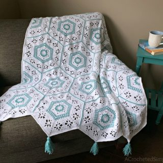 Free Crochet Hexagon Afghan- Succulent Spring Hexagon Afghan by A Crocheted Simplicity #freecrochetpattern #crochethexagonsquare #crochethexagonafghan #crochethexagonblanket #crochetafghansquare #12incheafghansquare #freecrochetblanketsquare #crochettextures #crochetafghan #crochetblanket #freehexagonafghanpattern