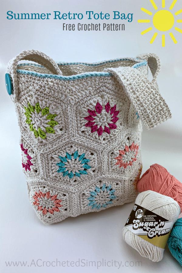 Free Crochet Tote Bag Pattern - Summer Retro Tote Bag by A Crocheted Simplicity. #freecrochetpattern #crochettotebagpattern #freecrochetbagpattern #crochetbag #crochetprojectbag #summerbag #summerretro #handmade