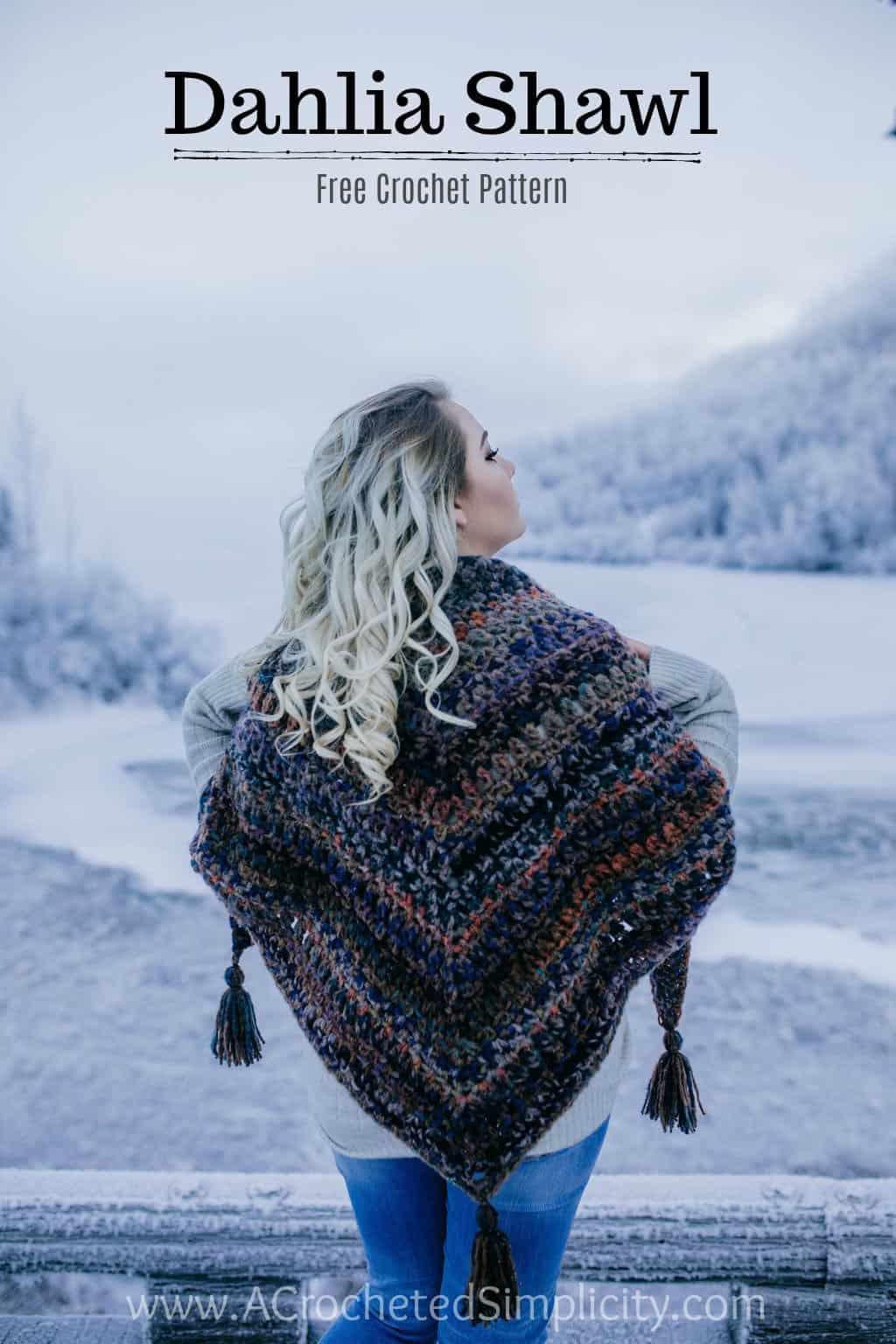 Free Crochet Shawl Pattern - Dahlia Shawl / Triangular Scarf by A Crocheted Simplicity #crochet #freecrochetshawlpattern #freecrochetpattern #freecrochetscarf #triangularscarfpattern #lionbrandmandala #crochetshawl #crochetscarf #crochetshawlpattern #crochettriangularshawl