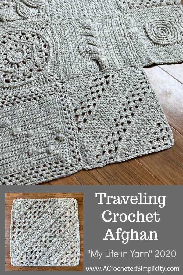 """Traveling Crochet Afghan Project - """"My Life in Yarn"""" 2020 in conjunction with Lion Brand Yarns and independent bloggers #freecrochetpattern #freecrochetsquarepattern #10inchcrochetsquare #crochetgrannysquarepattern #travelingafghan #mylifeinyarn #travelingafghans #travelingcrochetafghan"""