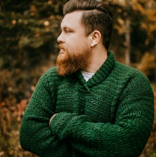 Free Crochet Sweater Pattern - Brentwood Men's Pullover by A Crocheted Simplicity #freecrochetpattern #freecrochetsweaterpattern #crochetmenssweater #crochetshawlcollarsweater #crochetmenssweater #crochetsweaterpattern #menssweater #crochetformen