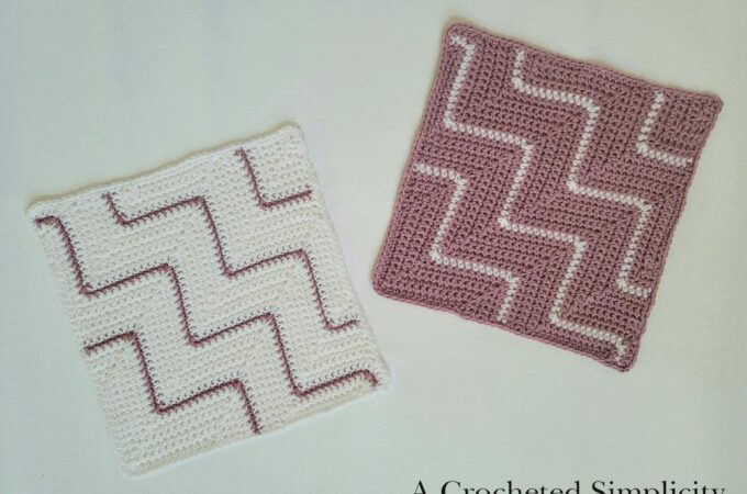 "Free Crochet Pattern - Diagonal Chevrons 12"" Afghan Square designed by A Crocheted Simplicity. #freecrochetpattern #crochetsquare #afghansquare #cal #freecrochetafghansquare #crochetchevrons #diagonalcrochet #onthebias #cornertocornercrochet #c2ccrochet"