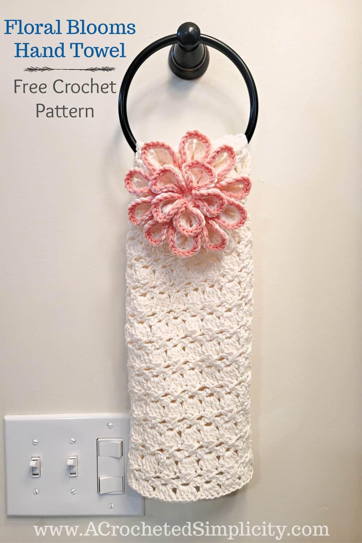 Free Crochet Hand Towel Pattern - Floral Blooms Hand Towel by A Crocheted Simplicity #freecrochetpattern #freecrochettowelpattern #handmade #crochetforhome #crochethandtowel #crochetkitchentowel #crochet #crochettowel #crochetkitchentowel #cottoncrochet #kitchencrochet