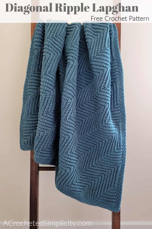 Free Crochet Blanket Pattern - Diagonal Ripple Lapghan by A Crocheted Simplicity #freecrochetpattern #freecrochetblanketpattern #crochetlapghanpattern #crochetblanketpattern #crochetrippleblanket #crochetchevronblanket #crochetchevron #c2ccrochet #cornertocornercrochet #crochetlapghan #crochetafghan