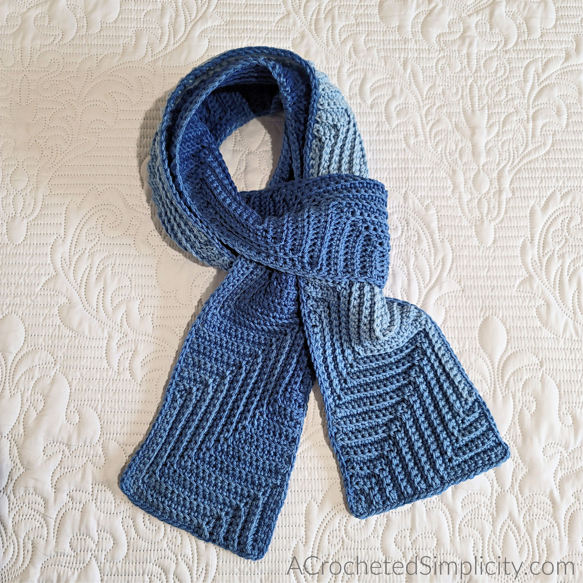 Free Crochet Scarf Pattern - Diagonal Ripple Scarf by A Crocheted Simplicity #freecrochetpattern #crochetscarf #freecrochetscarfpattern #crochetscarfpattern #ripplepattern #crochetripplepattern #crochetripple #handmade