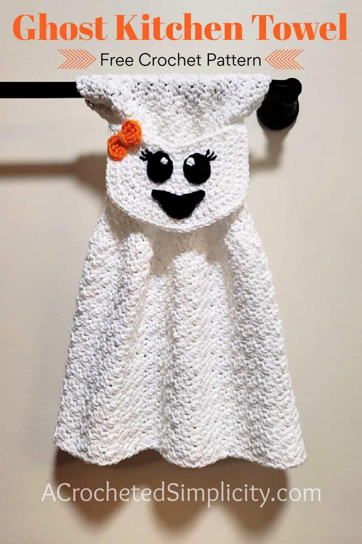 Free Crochet Towel Pattern - Ghost Towel by A Crocheted Simplicity #freecrochetpattern #crochetghost #crochetghostpattern #freecrochetghostpattern #crochet #crochettowel #crochettowelpattern #handmade #halloweentowel #ghosttowel