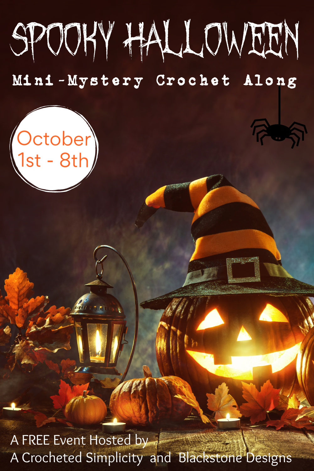 Join us for the Spooky Halloween Mini-Mystery Crochet Along - A FREE Crochet Event Hosted By A Crocheted Simplicity and Blackstone Designs