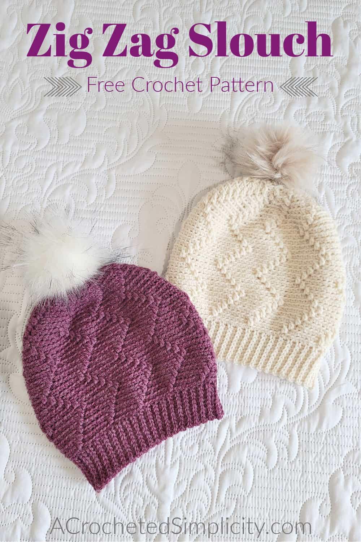 Free Crochet Hat Pattern - Zig Zag Slouch by A Crocheted Simplicity #freecrochetpattern #crochethatpattern #crochetslouchpattern #crochethat #handmadehat