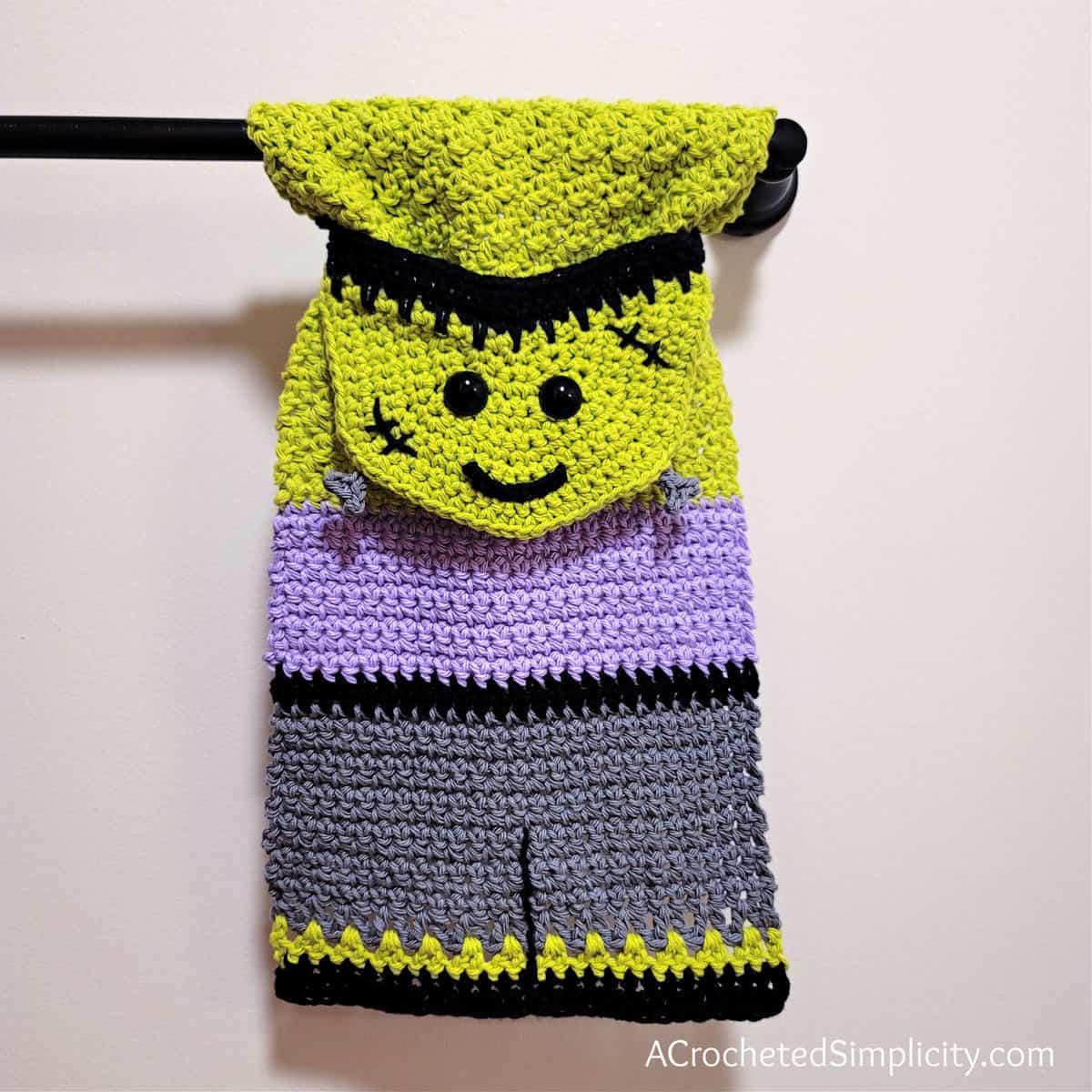 Free Crochet Towel Pattern - Frankenstein's Monster Kitchen Towel by A Crocheted Simplicity #freecrochetpattern #crochetmonster #crochetmonsterpattern #freecrochetfrankensteinpattern #crochet #crochettowel #crochettowelpattern #handmade #halloweentowel #frankensteintowel #frankensteincrochet #crochetfrankenstein